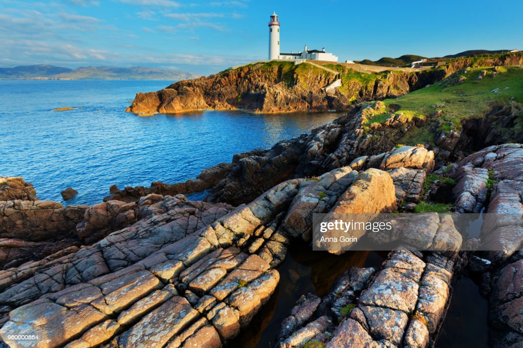 Fanad Head Lighthouse, Ireland, early evening in spring : Stock-Foto