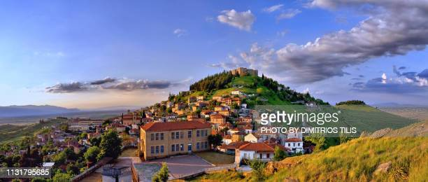 fanari and its castle at karditsa panorama 2 - thessaly stock pictures, royalty-free photos & images