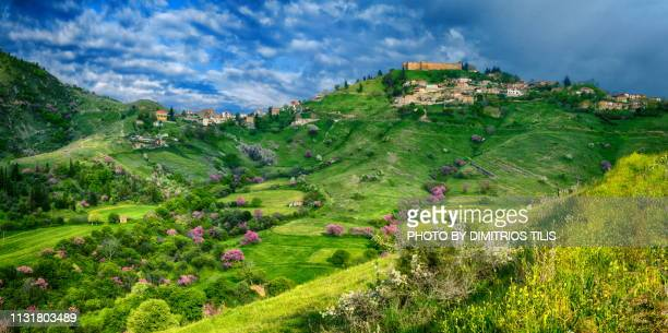 fanari its castle  and countryside at karditsa panorama - thessaly stock pictures, royalty-free photos & images