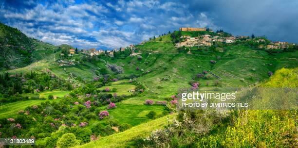 Fanari its castle  and countryside at Karditsa panorama