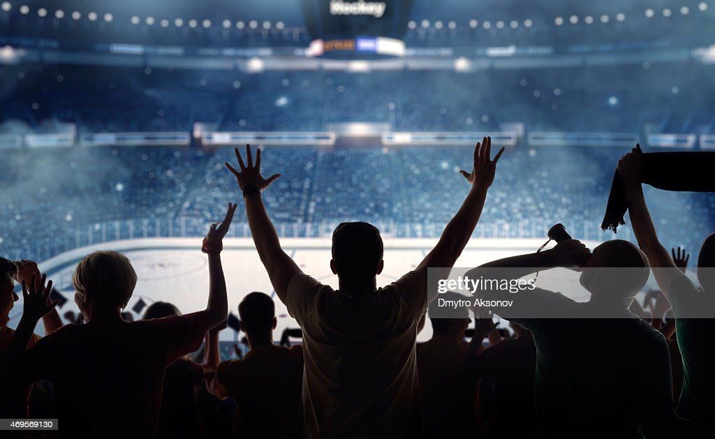 Fanatical hockey fans at a stadium : Stock Photo