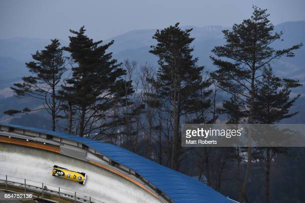 Fancesco Friedrich and Thorsten Margis of Germany compete in the 2man Bobsleigh during the BMW IBSF World Cup Bob Skeleton PyeongChang Presented by...