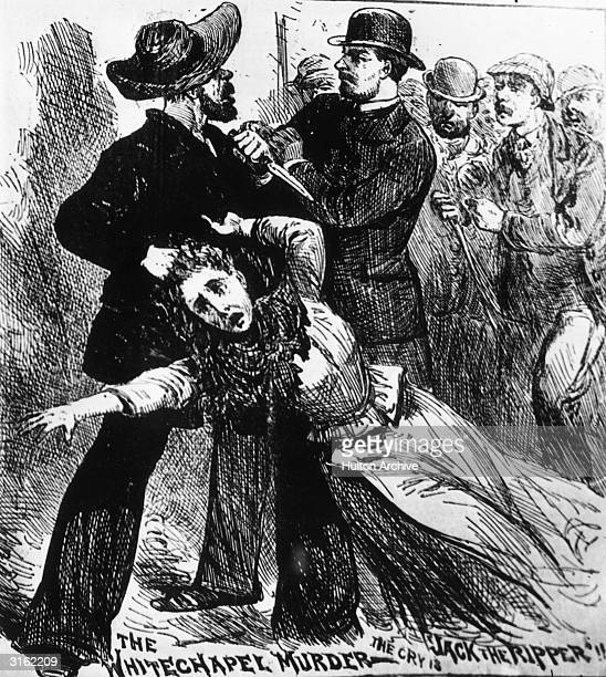 A fanciful engraving showing 'Jack The Ripper' the east end Murderer of prostitutes in the nineteenth century being caught redhanded grasping one of...