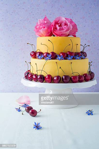 Fancy cake coated with fondant decorated with cherries, rose and borage blossoms