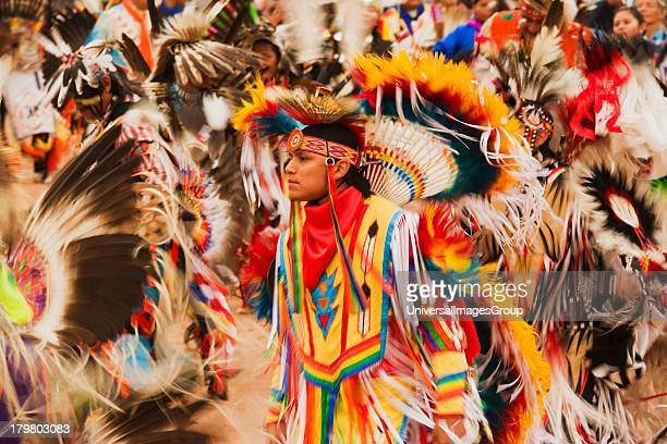 Fancy dancers in Grand Entrance of powwow Gallup InterTribal Indian Ceremonial Gallup New Mexico