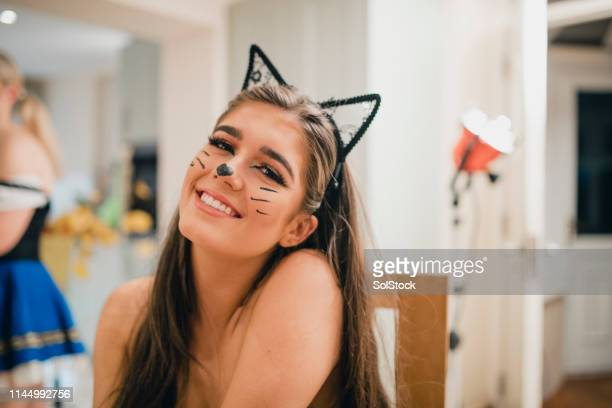 fancy dress time - cat costume stock photos and pictures
