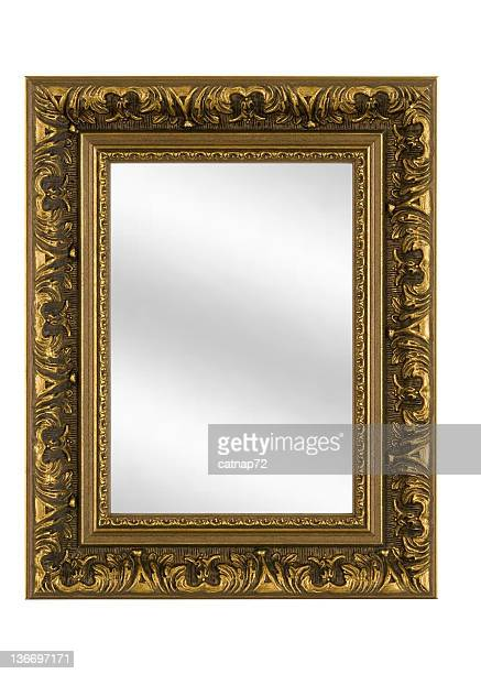 fancy gold picture frame with mirror, white isolated - mirror frame stock photos and pictures