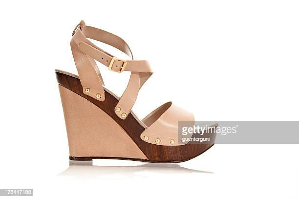 fancy high heels in fashionable wedge style - brown shoe stock pictures, royalty-free photos & images