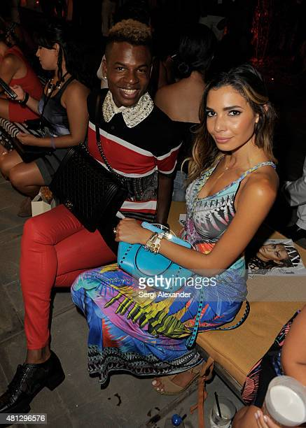 Fancy James and Style Blogger Jasmine Tosh attend the Maxim Magazine Worldwide Swimwear Collection launch at SLS South Beach on July 18 2015 in Miami...