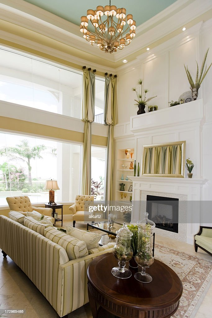 Fancy Living Room Newly Decorated With Fireplace Stock Photo