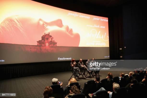 Fandango correspondent Alicia Malone director Darren Aronofsky producers Ari Handel and Scott Franklin speak onstage at the mother MIDNIGHT MADNESS...