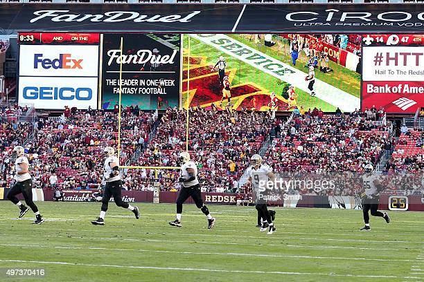 FanDuel advertisement is seen as the New Orleans Saints take the field against the Washington Redskins at FedExField on November 15 2015 in Landover...