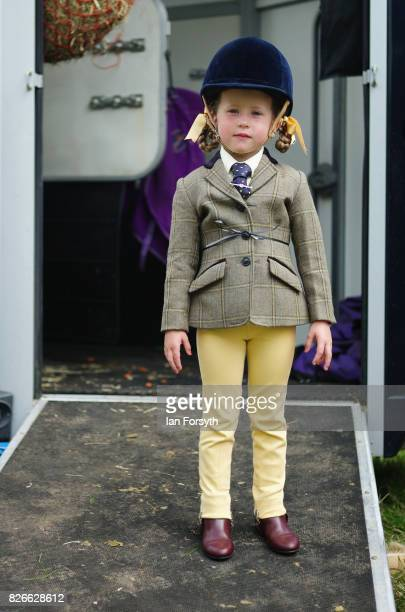 Fanella Adams from Hutton Rugby poses for a picture before her event during the Osmotherley Country Show on August 5, 2017 in Osmotherley, England....