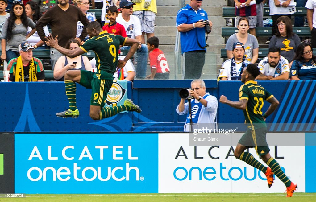 Fanendo Adi #9 of Portland Timbers celebrates his goal during Los Angeles Galaxy's MLS match against Portland Timbers at the StubHub Center on October 18, 2015 in Carson, California. The Portland Timbers won the match 5-2