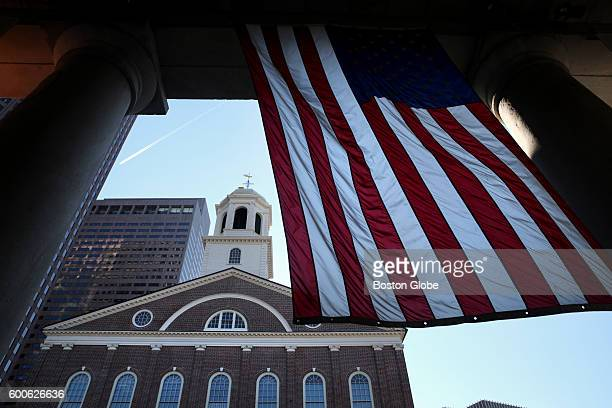 Faneuil Hall viewed from Quincy Market in Boston Mass on Aug 23 2016