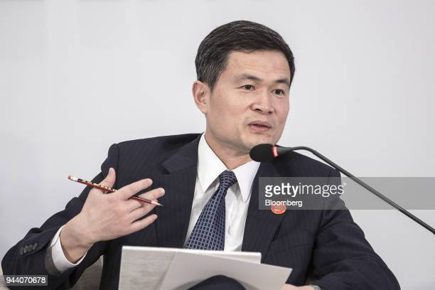 Fang Xinghai vice chairman of the China Securities Regulatory Commission speaks during a session at the Boao Forum for Asia Annual Conference in Boao...