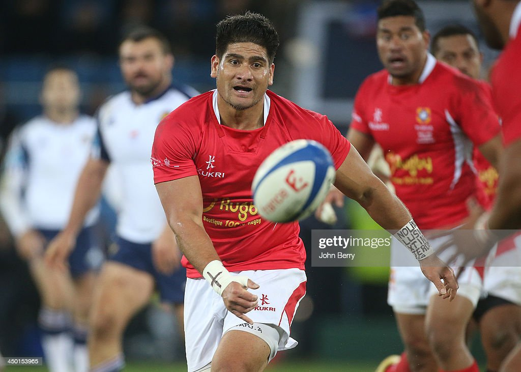 Fangatapu Apikotoa of Tonga in action during the international match between France and Tonga at the Oceane Stadium on November 16, 2013 in Le Havre, France.