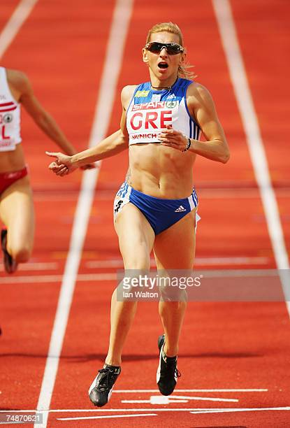 Fani Halkia of Greece competes on her way to victory in the Women's 400m during the Spar European Cup event held at the Olympic Stadium on June 23...
