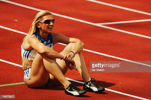 Fani Halkia of Greece rests after victory in the Women's 400m during the Spar European Cup event held at the Olympic Stadium on June 23 2007 in...