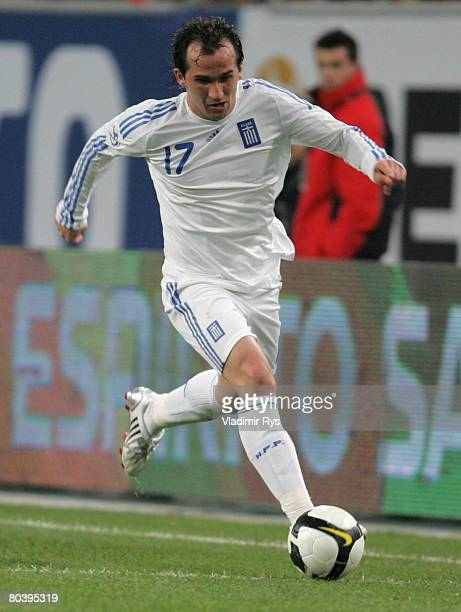 Fanis Gekas of Greece in action during the international friendly match between Portugal and Greece at the LTU Arena on March 26 2008 in Duesseldorf...