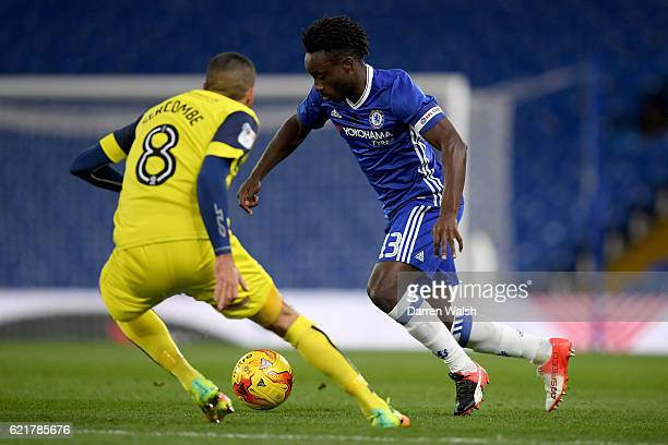 Fankaty Dabo of Chelsea and Liam Sercombe of Oxford United during a Checkatrade Trophy match between Chelsea and Oxford United at Stamford Bridge on...