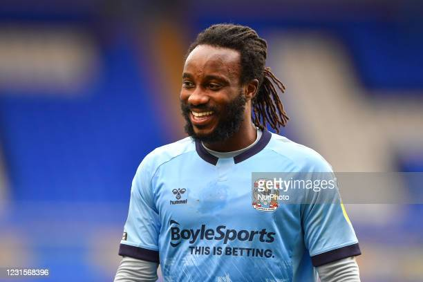 Fankaty Dabo of Coventry City during the Sky Bet Championship match between Coventry City and Derby County at St Andrews, Birmingham on Saturday 6th...