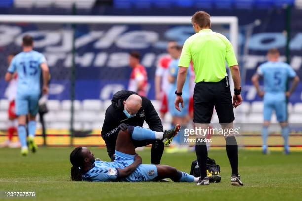 Fankaty Dabo of Coventry City is treated for injury during the Sky Bet Championship match between Coventry City and Millwall at St Andrew's Trillion...