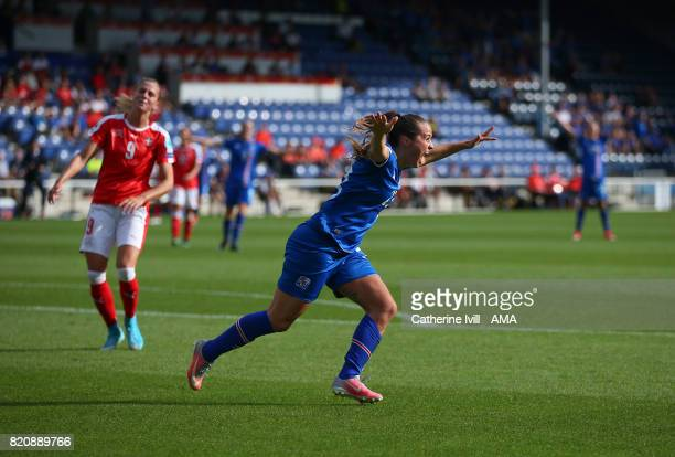 Fanndis Fridriksdottir of Iceland Women celebrates after she scores a goal to make it 10 during the UEFA Women's Euro 2017 match between Iceland and...