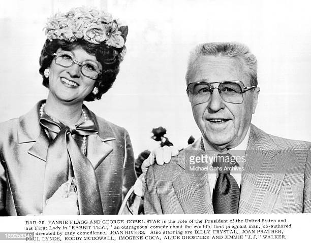 Fannie Flagg and George Gobel on set of the film 'Rabbit Test' 1978