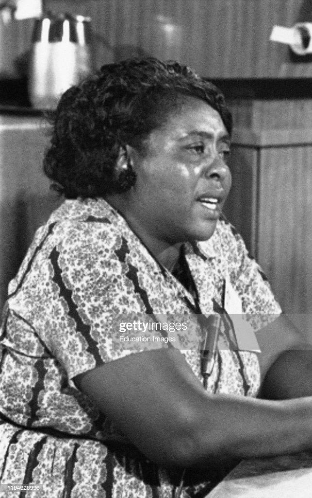 Fannie Lou Hamer, Mississippi Freedom Democratic Party Delegate, Democratic National Convention, Atlantic City, New Jersey, USA, Warren K Leffler, August 22, 1964 : News Photo
