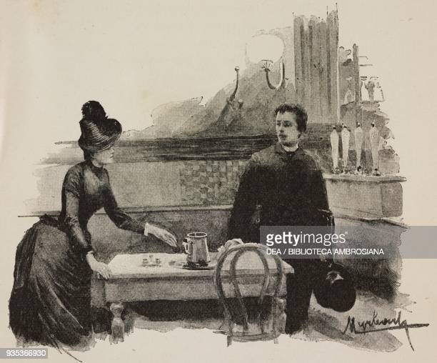 Fanny and Jean in a cafe engraving from Sappho Parisian manners by Alphonse Daudet engravings by Guillaume Freres