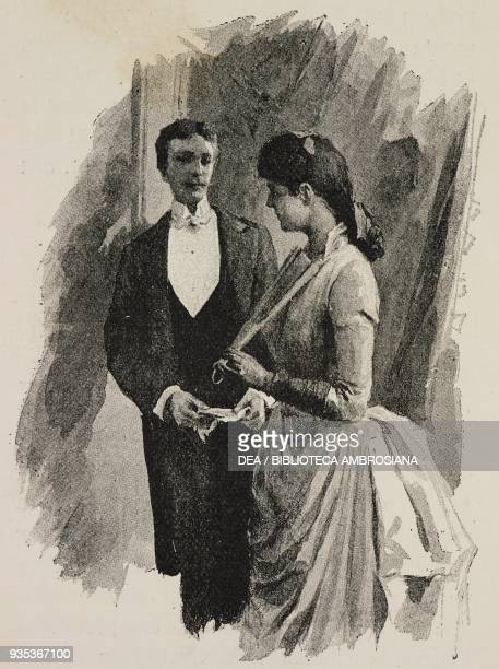 Fanny and Jean wearing formal evening clothes Sappho Parisian manners by Alphonse Daudet engravings by Guillaume Freres