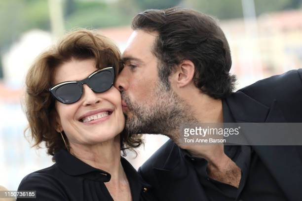 Fanny Ardant and Nicolas Bedos attend the photocall for Le Belle Epoque during the 72nd annual Cannes Film Festival on May 21 2019 in Cannes France