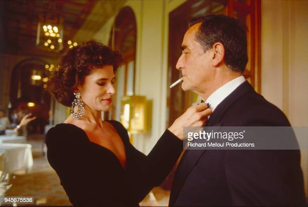 Fanny Ardant and Vittorio Gassman get ready for a reception during the Cannes Film Festival 16 May 1987
