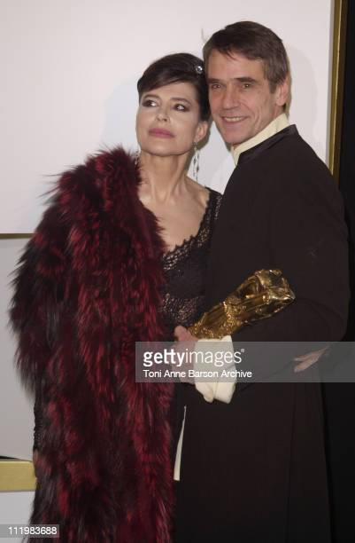 Fanny Ardant Jeremy Irons during Cesar Awards Ceremony 2002 Press Room at Chatelet Theater in Paris France