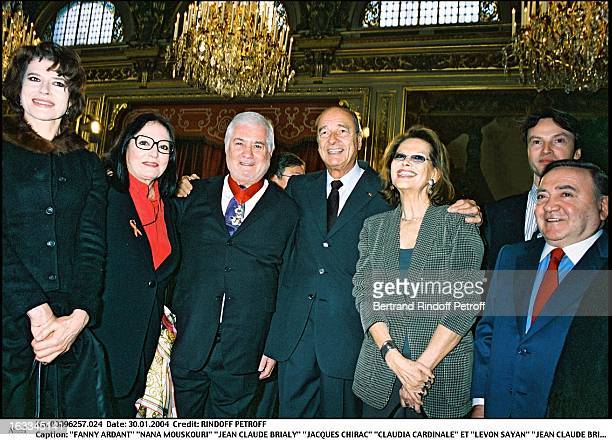 Fanny Ardant Nana Mouskouri Jean Claude Brialy Jacques Chirac Claudia Cardinale and Levon Sayan Jean Claude Brialy is made commander of the Legion of...