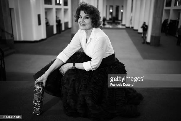 Fanny Ardant poses with the Best Actress in a Supporting Role award for the movie 'La Belle epoque' during the Cesar Film Awards 2020 Ceremony at...