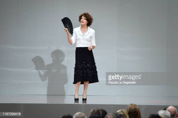 Fanny Ardant speaks on stage during the Karl Lagerfeld Homage at Grand Palais on June 20, 2019 in Paris, France.