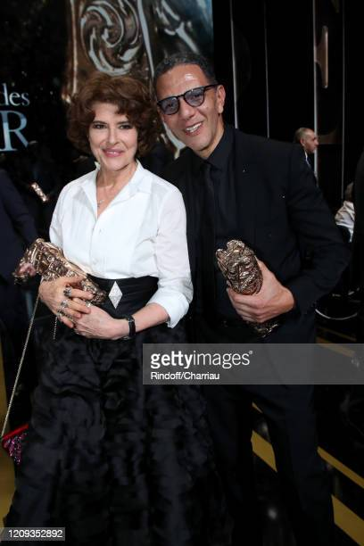 """Fanny Ardant, who won the """"Best Actress in supporting role"""" award for the movie 'La Belle Époque' and Roschdy Zem, who won the Best Actor award for..."""