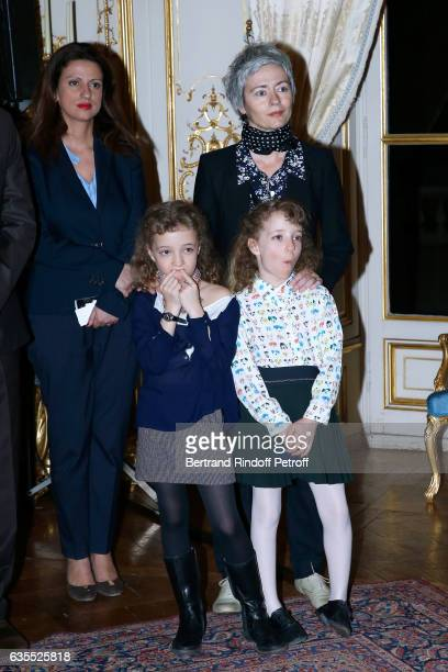 Fanny Berleand Alexia Stresi her twins daughters Lucie and Adele attend Francois Berleand is elevated to the rank of 'Officier de la Legion...