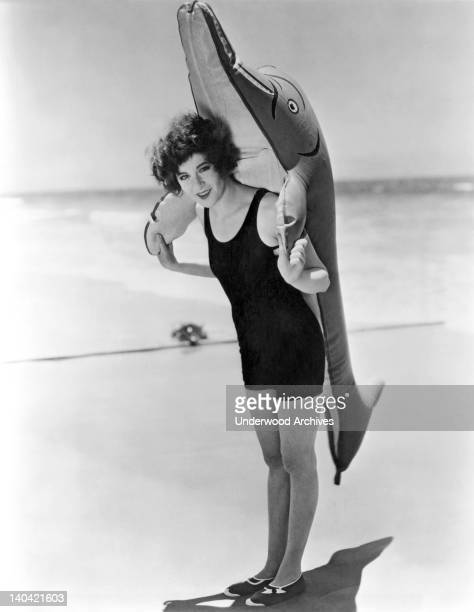 Fanny Brice and her friend while she is on location for filming her first motion picture 'My Man' Santa Monica California July 1928