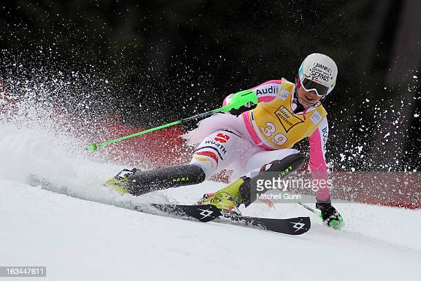 Fanny Chmelar of Germany competes in her last race wearing a pink tutu over her race suit in the Audi FIS Alpine Ski World Cup Women's Slalom on...