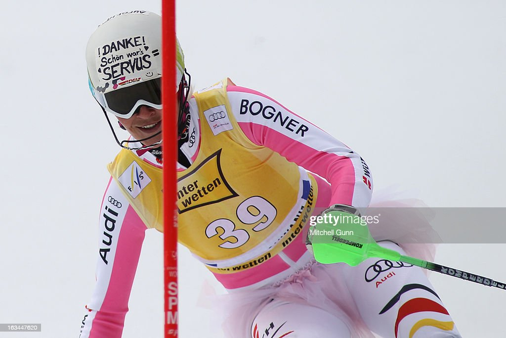 Fanny Chmelar of Germany competes in her last race wearing a pink tutu over her race suit in the Audi FIS Alpine Ski World Cup Women's Slalom on March 10, 2013 in Ofterschwang, Germany.