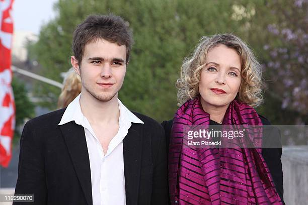 Fanny Cottencon and her son Maxime attend the 25th Moliere Awards Ceremony on April 17 2011 in Creteil France