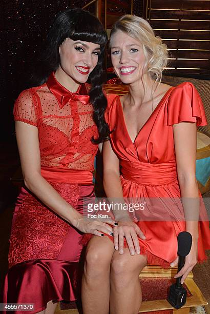 Fanny Fourquez and Aurore Delplace attend the 'Love Circus' Press Preview At the Folies Bergeres 16 2014 in Paris France