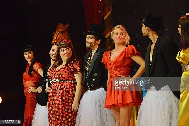 Fanny Fourquez Maximilien Philippe Lola Ces Vincent Heden Aurore Delplace and Golan Yosef perform during the 'Love Circus' Press Preview At the...