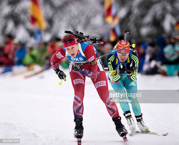 Fanny Horn Birkeland of Norway in action during the Women 4 x 5 km relay Biathlon race at the IBU Biathlon World Cup Ruhpolding on January 17 2016 in...