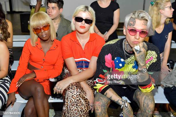 Fanny J Veronica Guitya and Chris Lavish attend the Hardware LND Front Row during New York Fashion Week The Shows at Industria Studios on September 6...