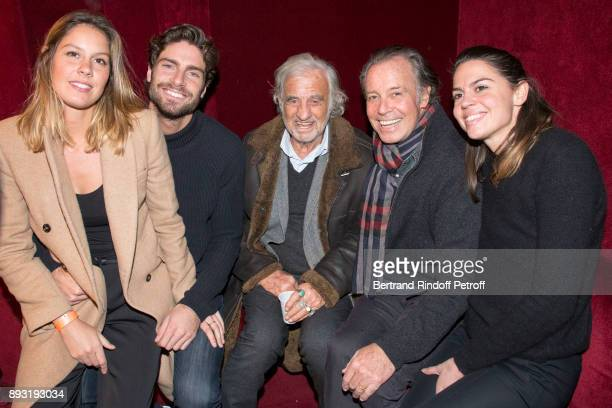 Fanny Leeb Tom Leeb JeanPaul Belmondo Michel Leeb and Elsa Leeb attend 'Michel Leeb 40 ans' Theater Show at Casino de Paris on December 14 2017 in...