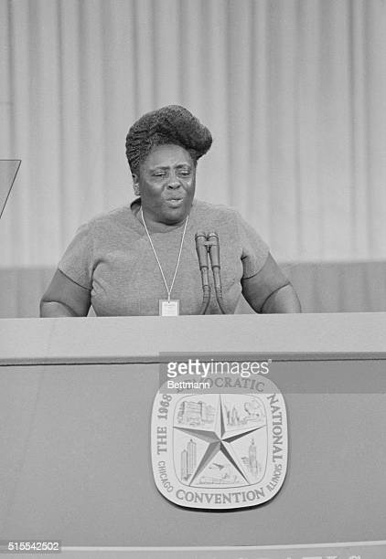Fanny Lou Hamer of Mississippi addresses the delegates on the fight over Alabama credentials during the second session of the 1968 Democratic...